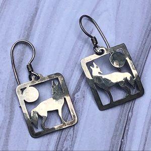 Wild Byrde Sterling Silver Wolf Earrings Signed